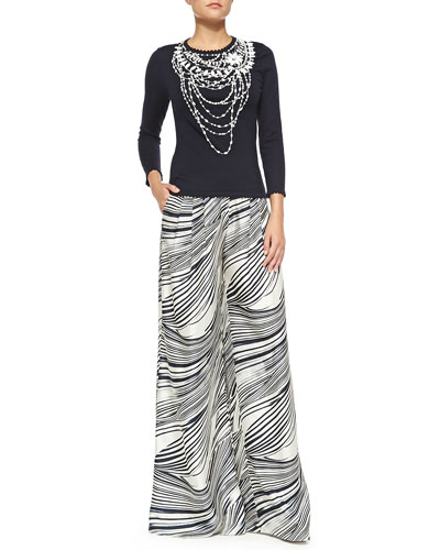 Crewneck Beaded Necklace Sweater & Wave-Striped Wide-Leg Pants