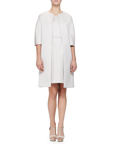 1/2-Sleeve Glossy Cady Topper & Sleeveless Glossy Cady Dress