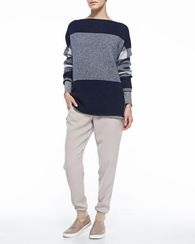 Mixed-Pattern Knit Sweater, Mixed-Stripe Slub Tee & Pull-On Drawstring ...