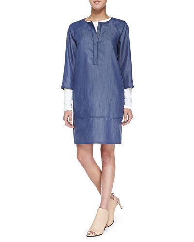 Long-Sleeve Tee W/ Marker Stripes & Draped Denim Shift Dress