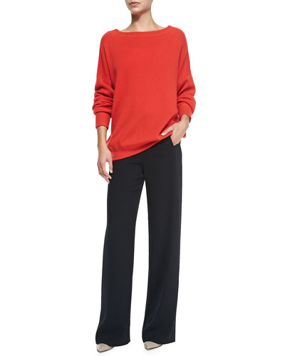 Cashmere Boat-Neck Oversize Sweater & Sailor-Button Wide-Leg Pants