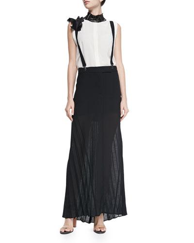 Sleeveless Hidden-Placket Silk Henley Blouse, Long Pleated Skirt W/ ...