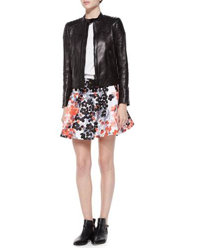 Leather Bomber Moto Jacket, Ruffle-Sleeve Poplin Blouse & Abstract Flower-Print Flounce Skirt