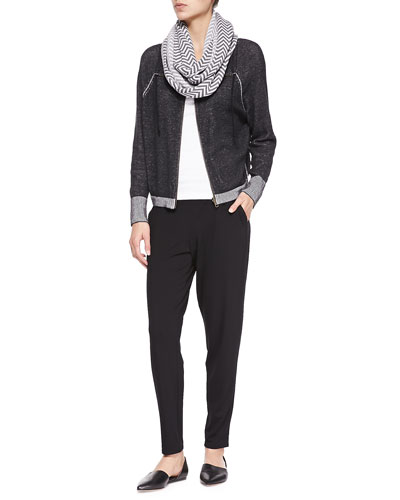 Plaited Organic Cotton Jacket W/ Contrast Trim, Slim Tank, Chevron Jacquard Infinity Scarf & Slouchy Tapered Pants