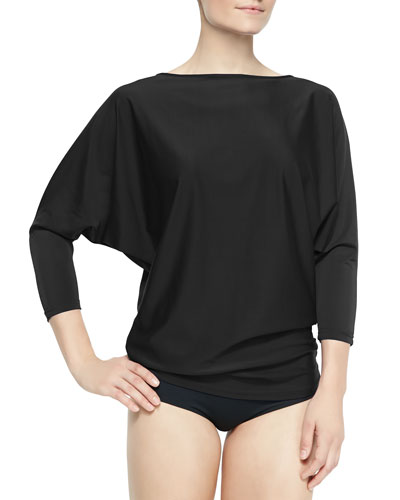 UPF 50 Dolman-Sleeve Boat-Neck Tunic & Hipster Swim Bottom