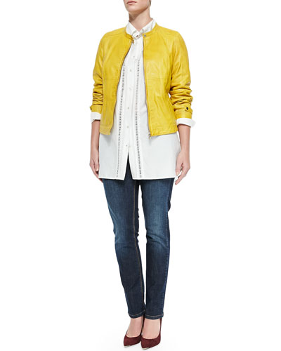 Ebanista Leather Biker Jacket, Center-Trim Blouse & Idioma Low-Rise Stretch Jeans, Women