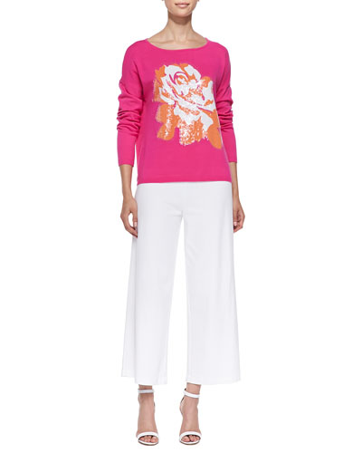 Sequined Floral Dolman-Sleeve Sweater & Wide-Leg Interlock Pants, Petite