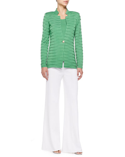 Sliced One-Button Jacket, Scoop-Neck Knit Tank & Washable Wide-Leg Pants, Women