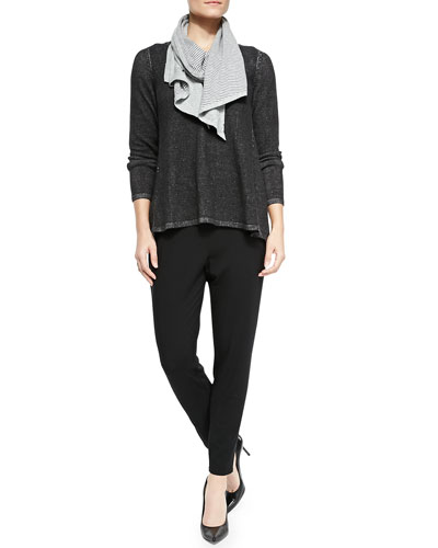 Plaited V-Neck Tunic, Double-Knit Parallelogram Scarf & Slouchy Tapered Pants
