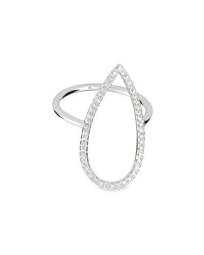 White Gold Diamond-Pear Ring