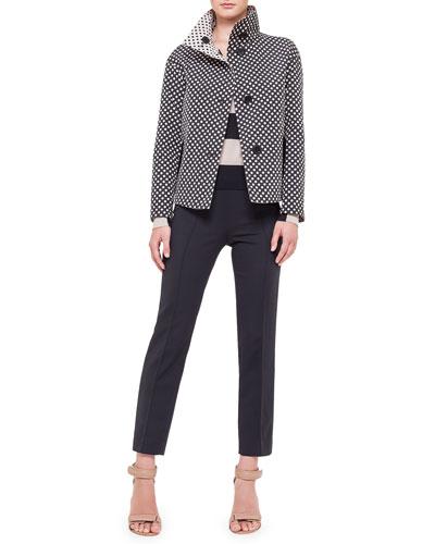 Reversible Stand-Collar Polka-Dot Jacket, Bold-Stripe Wool Sweater & Ankle ...