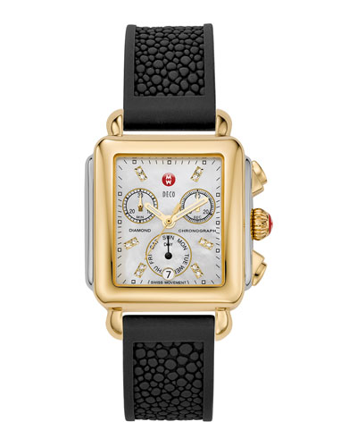 Deco Day Diamond-Dial Watch Head & 18mm Silicone Watch Strap