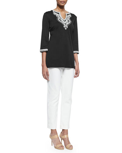 3/4-Sleeve Embroidered Tunic & Ponte Slim Ankle Pants, Petite