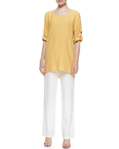 Cabo Crinkled Long Tabbed-Sleeve Tunic & Straight-Leg Pants, Petite
