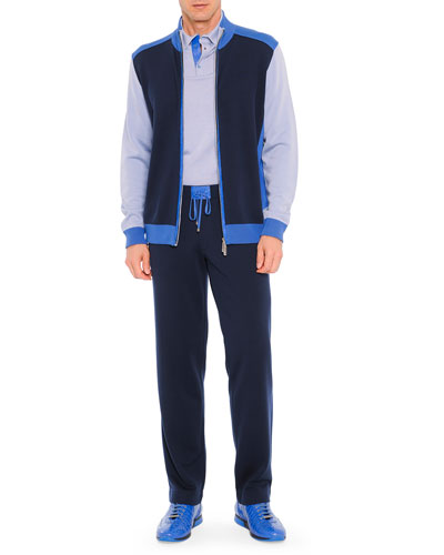 Colorblock Track Jacket, Colorblock Silk Polo, & Track-Pants with Croc-Trim