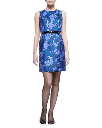 Floral-Print Silk Sheath Dress with Contrast Back & Chain and Leather Waist Belt