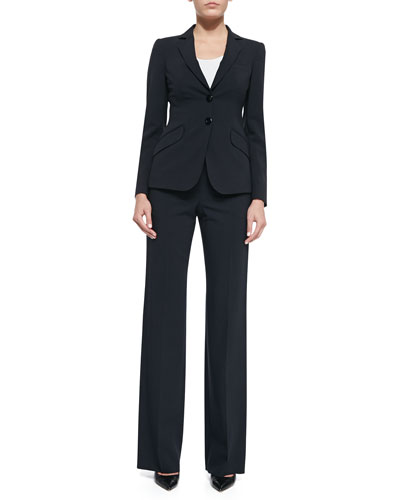 Two-Button Jacket, Sleeveless Stretch-Jersey Top & Wide-Leg Pants
