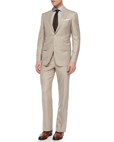 Trofeo Wool/Silk Solid Two-Piece Suit, Woven Bold Check Dress Shirt & Solid Woven Silk Tie