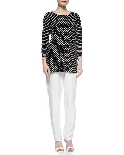 Bias-Striped Knit Tunic & Cabo Crinkle Straight-Leg Pants