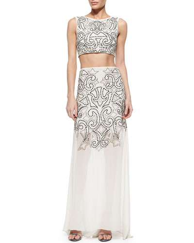 Ezra Sequined Beaded Crop Top & Rizo Flowy Sequined Illusion Hem Skirt