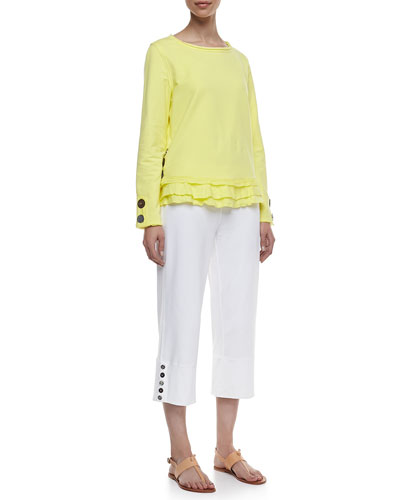 Cape Side Ruffled-Hem Pullover & Seascape Button-Cuff Capri Pants