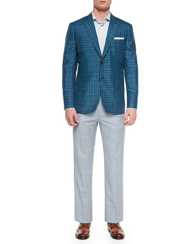 Plaid Silk Jacket, Small-Check Dress Shirt & Heathered Wool Trouser