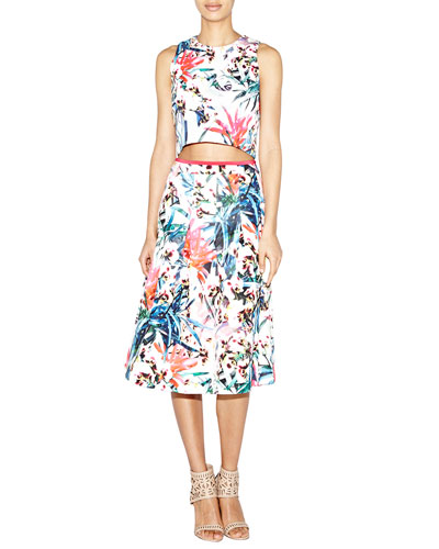 Orchid Jungle Crop Top & Orchid Jungle Neoprene Printed Flare Skirt
