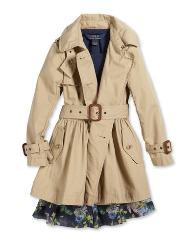 Military-Style Trench Coat, Lace-Trim Jersey Tee & Floral-Print Circle Skirt