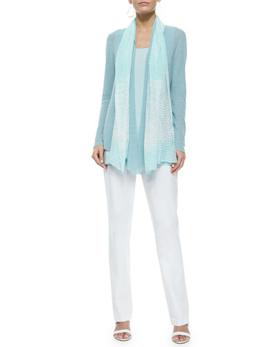 Long Angled Linen-Blend Cardigan, Ripples Scarf, Tunic & Washable-Crepe Boot-Cut Pants, Women