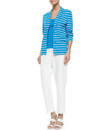 Striped Knit Jacket, Cotton Rib Tank & Ponte Slim Ankle Pants, Petite