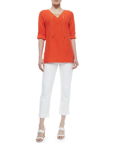 Cotton Pique Lace-Up Tunic & Slim Ponte Ankle Pants, Petite