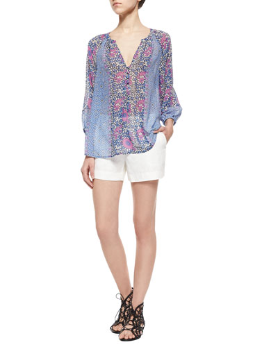 Gloria Long-Sleeve Print Blouse & Leiden Linen Shorts