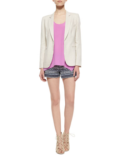 Mehira Long-Sleeve Linen Blazer, Ardson Loose Uneven Tank Top & Merci Low-Rise Tweed Shorts