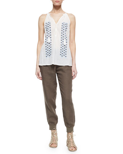 Eniko Embroidered Voile Tassel Top & Stuva Drawstring Linen Pants