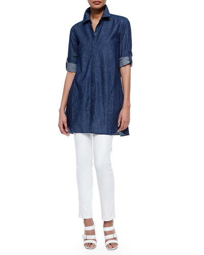Maria Chambray Tunic Shirt & Isabel Slim Ankle Jeans