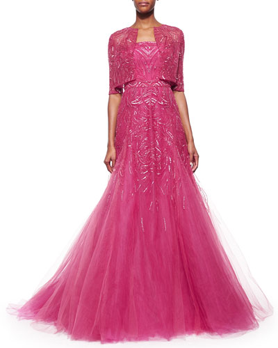Sequin-Embroidered Chiffon Bolero & Strapless Graduated Bead-Embroidered Gown