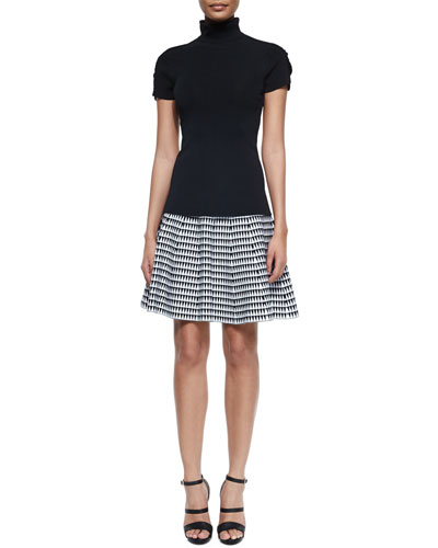 Turtleneck Ruched-Sleeve Tee & Zigzag-Print Flared Skirt