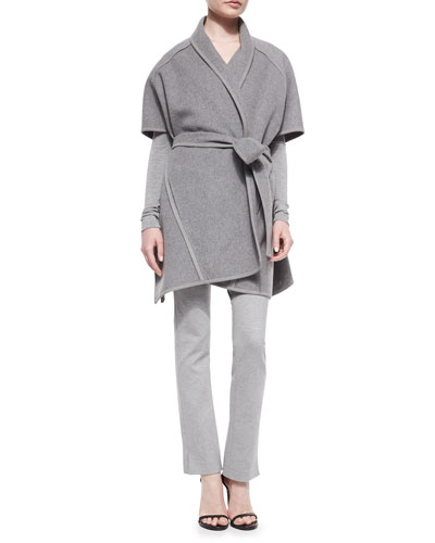 Double-Faced Cashmere Belted Coat, Long-Sleeve Cold-Shoulder Top & Slit-Cuff Jersey Leggings