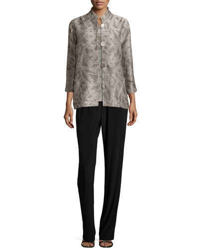 Natural Shadow Button-Front Jacket, Tank & Stretch-Knit Straight-Leg Pants