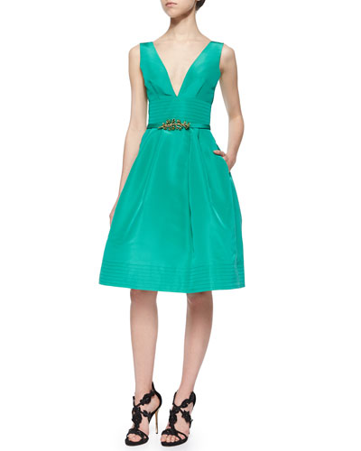 Fit-and-Flare Pouf Dress & Crystal Faille Skinny Belt