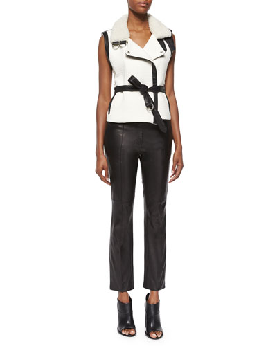 Critzer Vest with Leather Trim & Great Lambskin Leather Ankle Pants