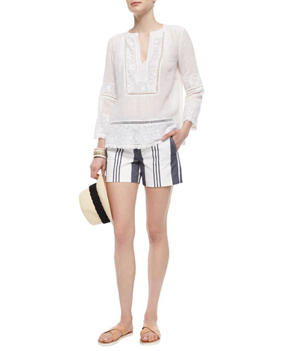 Oahu Embroidered Voile Top & Striped Cotton Shorts