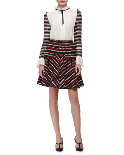 Silk Tie-Neck Lace-Stripe Blouse & A-Line Tweed Skirt