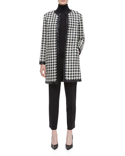 Adelle Woven Leather Houndstooth Coat, Cashmere-Silk Knit Turtleneck Top & Wool Side-Zip Ankle Pants