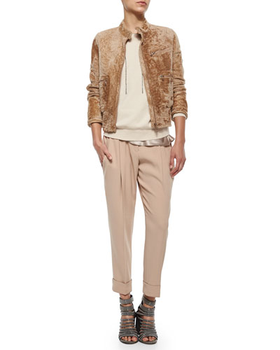 Shearling Bomber Jacket, Cashmere Pullover, Satin Tank & Slouch Cuffed Pants