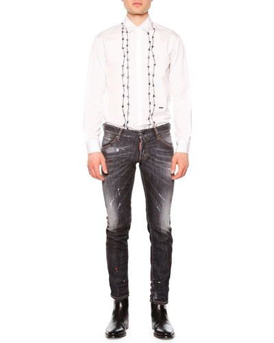 Barbed-Wire Print Long-Sleeve Shirt & Clement Faded & Distressed Denim Jeans
