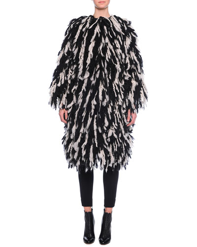 Fringe Shaggy Coat & Ankle-Zip Leggings