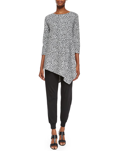 3/4-Sleeve Leopard-Print Asymmetric Tunic & Cotton Interlock Jog Pants