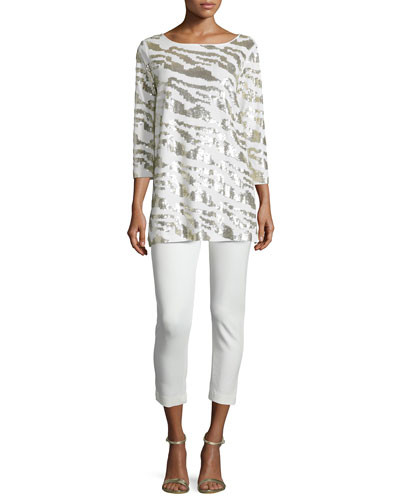 Sequined Animal Tunic & Ponte Slim Ankle Pants, Women