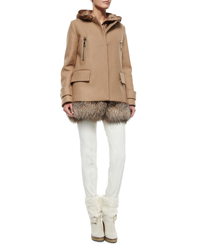Cream Cable Knit Sweater, Fenelon Two Piece Coat & White Stretch Pants